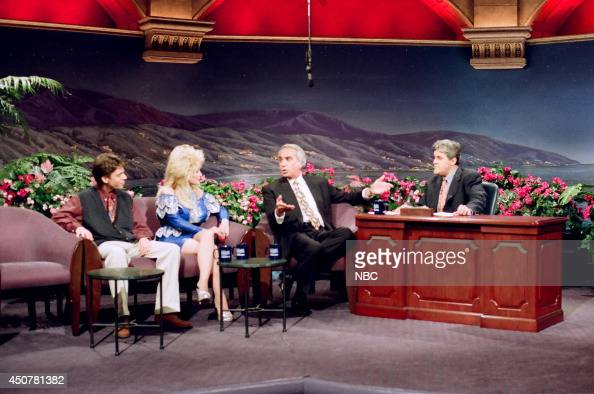 Comedian Greg Rogell singer Dolly Parton and talk show host Tom Snyder during an interview with host Jay Leno on March 5 1993