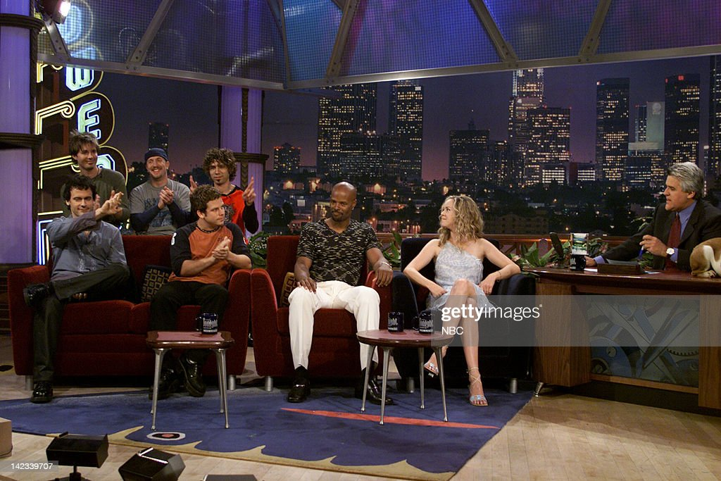 Musical guest Nine Days actor Keenen Ivory Wayans actress Heather Donahue during an interview with host Jay Leno on June 9 2000