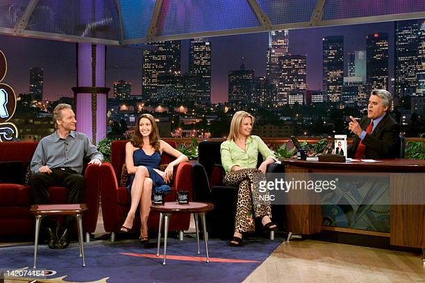 Comedian Bill Maher actress Shannon Elizabeth musical guest Patty Loveless during an interview with host Jay Leno on June 28 2000