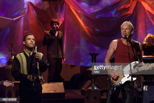Singer Cheb Mami performs with musical guest Sting on August 10 2000