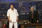 Actor Dwayne 'The Rock' Johnson during an interview with host Jay Leno on August 23 2000
