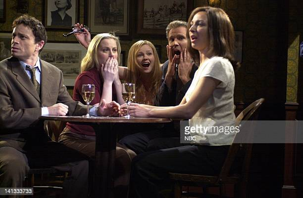 LIVE Episode 19 Air Date Pictured Chris Kattan Amy Poehler Kirsten Dunst Will Ferrell Maya Rudolph during the 'Background Actors' skit on May 5 2002...