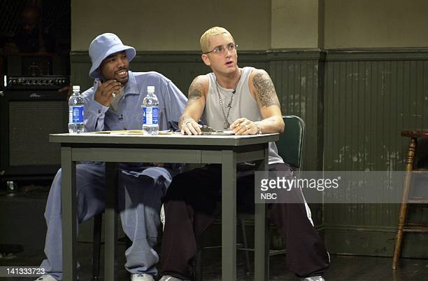LIVE Episode 19 Air Date Pictured Rapper Proof and Eminem during the 'Audition for Eminem' skit on May 11 2002 Photo by Dana Edelson/NBCU Photo Bank