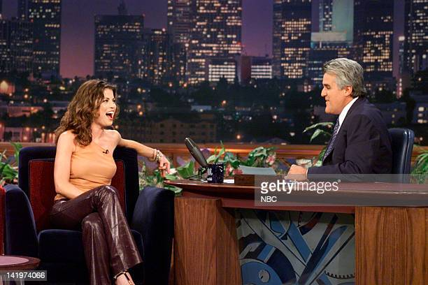 Actress Yasmine Bleeth during an interview with host Jay Leno on October 3 2000