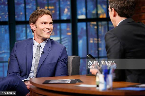 Actor Seann William Scott during an interview with host Seth Meyers on April 23 2015