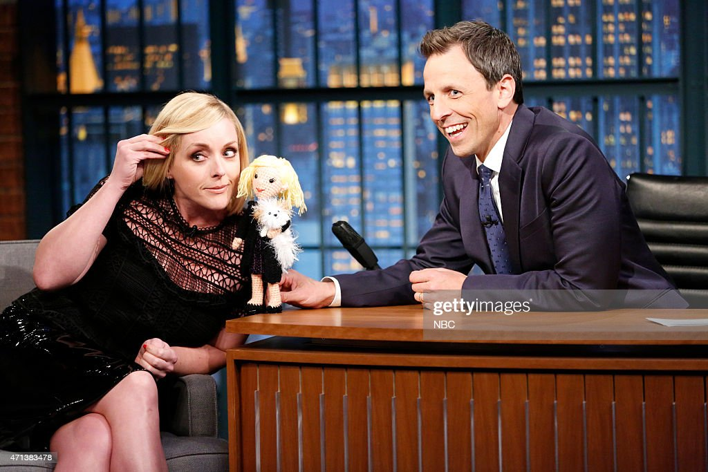Actress Jane Krakowski during an interview with host Seth Meyers on April 27 2015