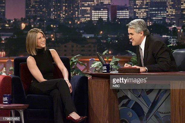 Actress Jennifer Aniston during an interview with host Jay Leno on February 13 2001