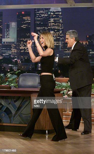 Actress Jennifer Aniston with host Jay Leno on February 13 2001