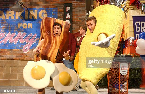 LIVE Episode 2 Air Date Pictured Chris Paarnell as Benny's mascot Justin Timberlake as Omeletville mascot during the 'Benny's vs Omeletville' skit on...