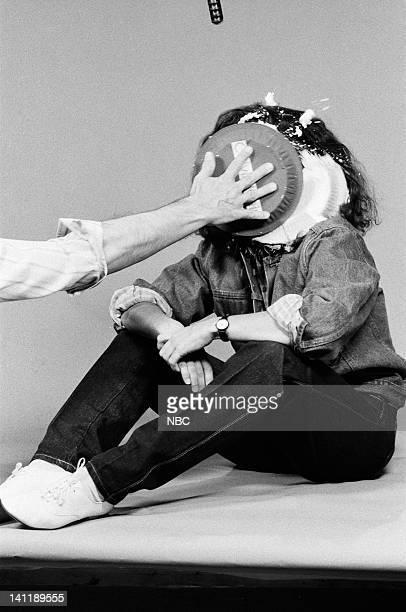 Julia LouisDreyfus as Andie MacDowell during the 'Calvin Klein Cream Pies' skit on October 15 1983