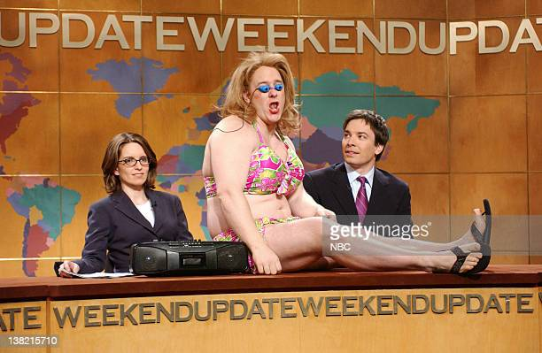 LIVE Episode 20 Aired Pictured Tina Fey Jeff Richards as Drunk Girl Jimmy Fallon during 'Weekend Update'