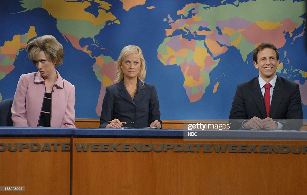 LIVE Episode 20 Aired Pictured Kristen Wiig as Aunt Linda Amy Poehler Seth Meyers during 'Weekend Update' skit on May 19 2007