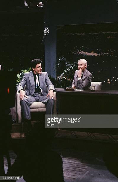 Kevin Nealon as Jay Leno Dana Carvey as Johnny Carson during 'The Tonight Show' skit on May 19 1990 Photo by Raymond Bonar/NBCU Photo Bank
