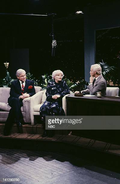 Phil Hartman as Ed McMahon Jan Hooks as Crystal McLanahan Dana Carvey as Johnny Carson during 'The Tonight Show' skit on May 19 1990 Photo by Raymond...
