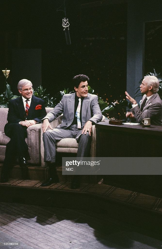 Phil Hartman as Ed McMahon, Kevin Nealon as <a gi-track='captionPersonalityLinkClicked' href=/galleries/search?phrase=Jay+Leno+-+Television+Host&family=editorial&specificpeople=156431 ng-click='$event.stopPropagation()'>Jay Leno</a>, Dana Carvey as <a gi-track='captionPersonalityLinkClicked' href=/galleries/search?phrase=Johnny+Carson&family=editorial&specificpeople=206990 ng-click='$event.stopPropagation()'>Johnny Carson</a> during 'The Tonight Show' skit on May 19, 1990 -- Photo by: Raymond Bonar/NBCU Photo Bank