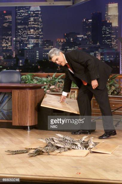 Host Jay Leno with baby alligators on February 19 2001