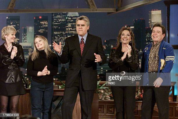 Actress Alison Arngrim Actress Charlene Tilton Host Jay Leno Actress Dawn Wells Actor Jerry Mathers during 'Hollywood Survivor' Skit on February 21...