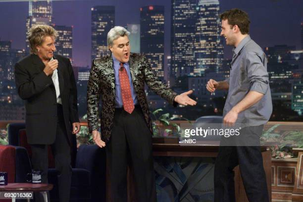 Singer Rod Stewart Host Jay Leno and Actor Ben Affleck joke around during an interview with host Jay Leno on February 28 2001