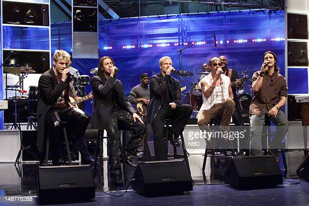 The band Backstreet Boys during a performance on March 16 2001