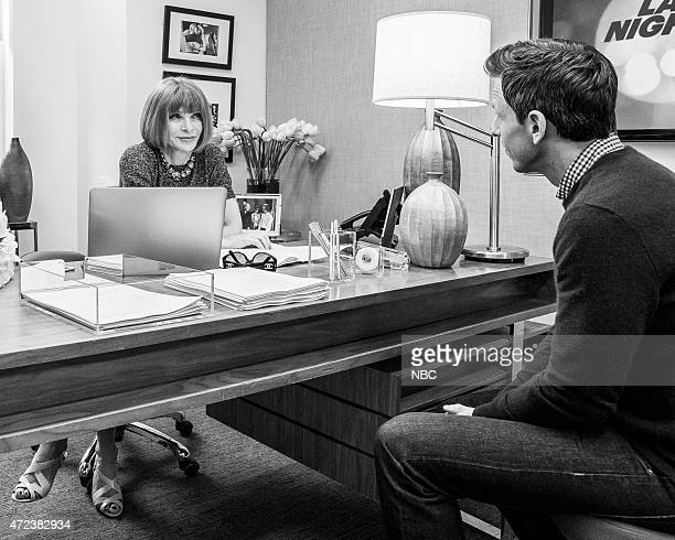 Anna Wintour and host Seth Meyers during the 'Anna Wintour Comedy Icon' skit May 6 2015
