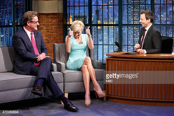 Hosts of Morning Joe Joe Scarborough and Mika Brzezinski during an interview with host Seth Meyers on May 7 2015