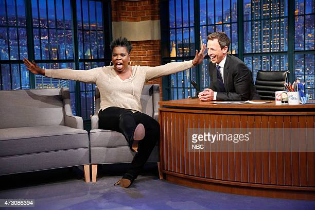 Leslie Jones SNL cast member during an interview with host Seth Meyers on May 12 2015