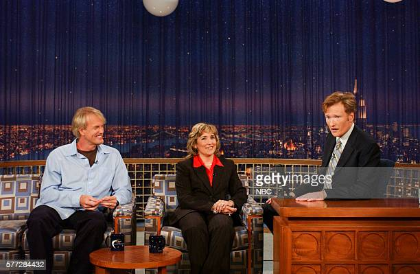 Actor John Tesh and professional boxer Christy Martin during an interview with host Conan O'Brien