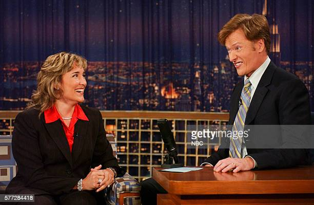 Professional boxer Christy Martin during an interview with host Conan O'Brien