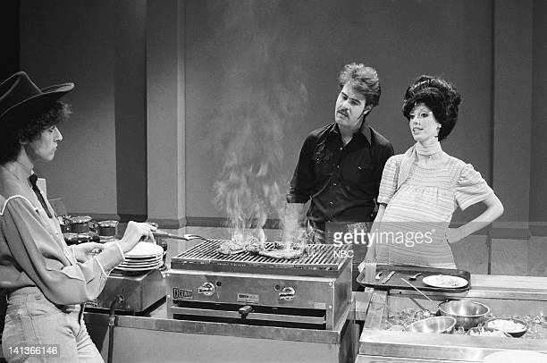 Dan Aykroyd as husband Shelley Duvall as wife during the 'Steak House' skit on May 14 1977 Photo by NBCU Photo Bank