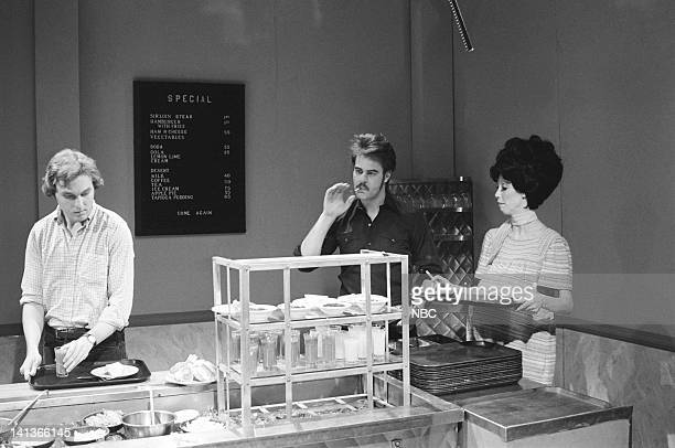Jim Downey as patron Dan Aykroyd as husband Shelley Duvall as wife during the 'Steak House' skit on May 14 1977 Photo by NBCU Photo Bank