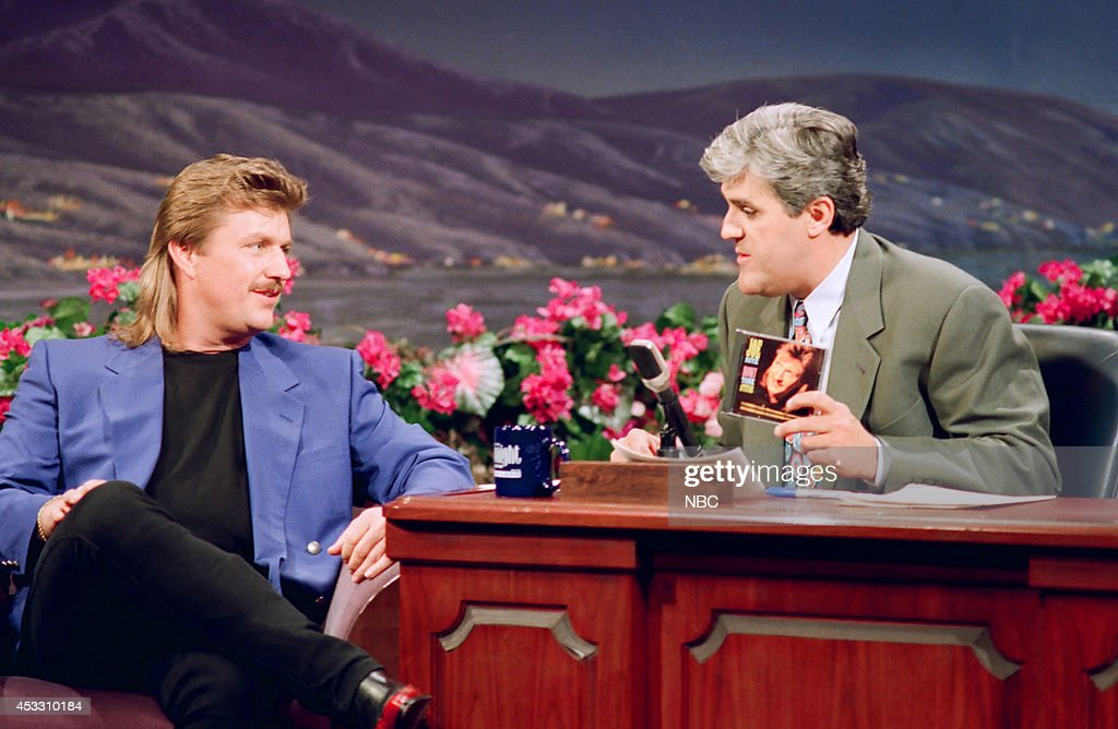 Muscal guest <a gi-track='captionPersonalityLinkClicked' href=/galleries/search?phrase=Joe+Diffie&family=editorial&specificpeople=3214821 ng-click='$event.stopPropagation()'>Joe Diffie</a> during an interview with host Jay Leno on March 27, 1993 --