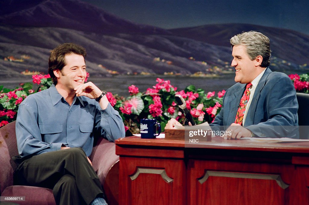 Actor <a gi-track='captionPersonalityLinkClicked' href=/galleries/search?phrase=Matthew+Broderick&family=editorial&specificpeople=201912 ng-click='$event.stopPropagation()'>Matthew Broderick</a> during an interview with host Jay Leno on March 28, 1993 --