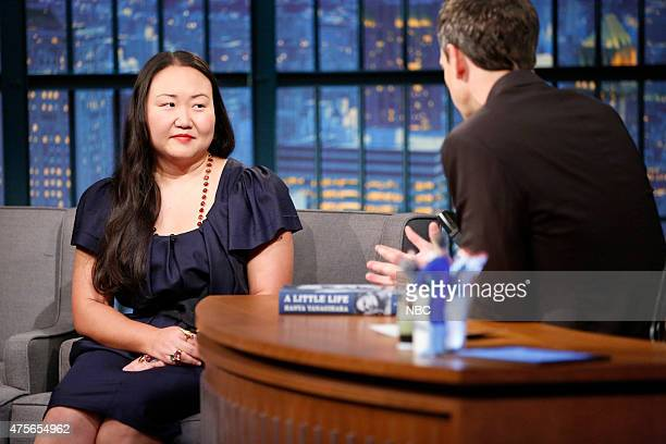 Author Hanya Yanagihara during an interview with host Seth Meyers on June 2 2015