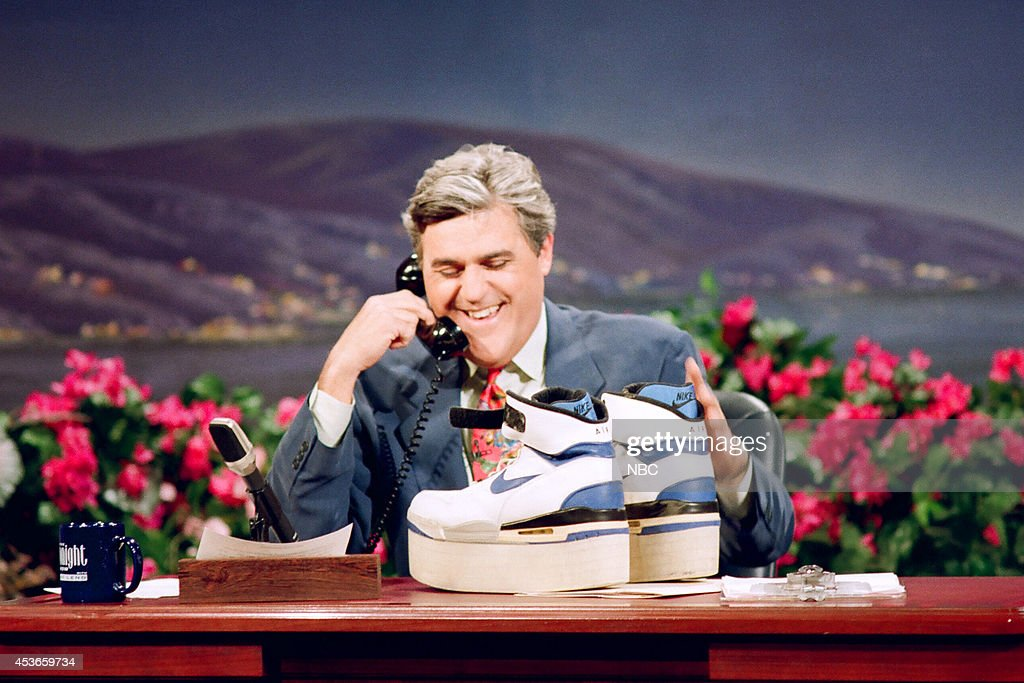 Host Jay Leno opens birthday presents from celebrities on March 28, 1993 --