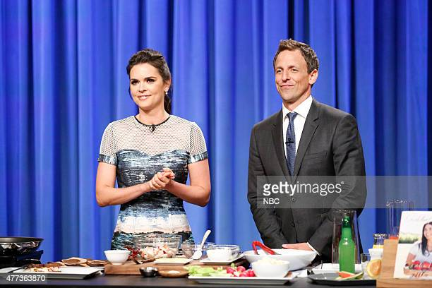 Author and food critic Katie Lee and host Seth Meyers during a cooking segment on June 16 2015