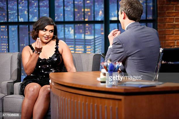 Actress Mindy Kaling during an interview with host Seth Meyers on June 17 2015
