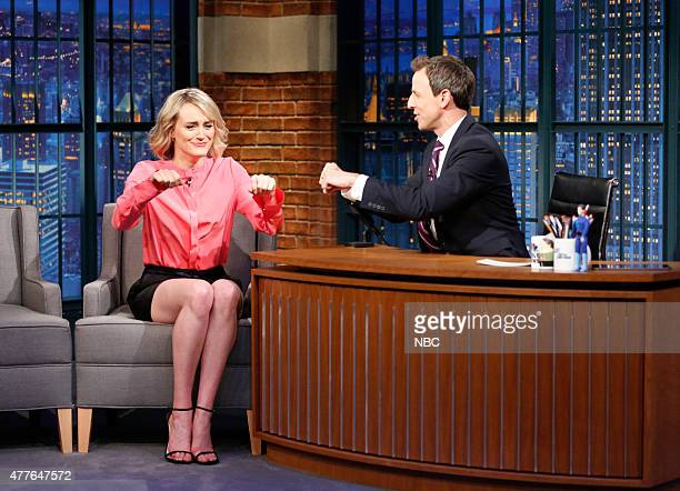 Actress Taylor Schilling during an interview with host Seth Meyers on June 18 2015