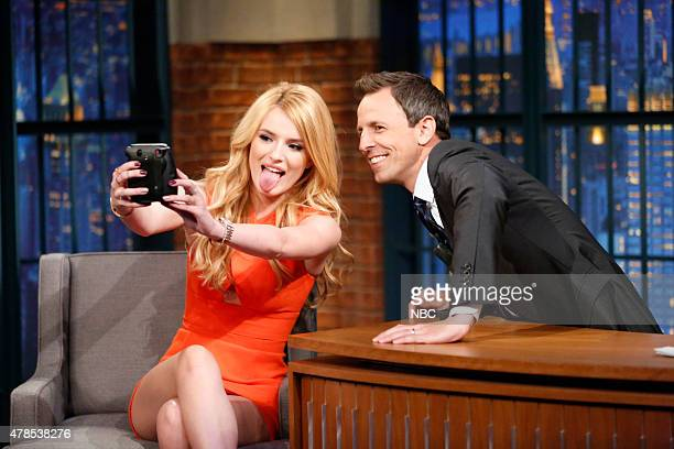 Actress/model Bella Thorne during an interview with host Seth Meyers on June 25 2015