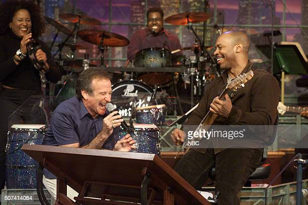 Actor Robin Williams and guitarist Kevin Eubanks on May 22 2002