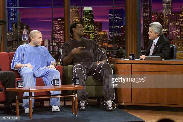 Basketball players Mike Bibby Chris Webber during an interview with host Jay Leno on June 7 2002
