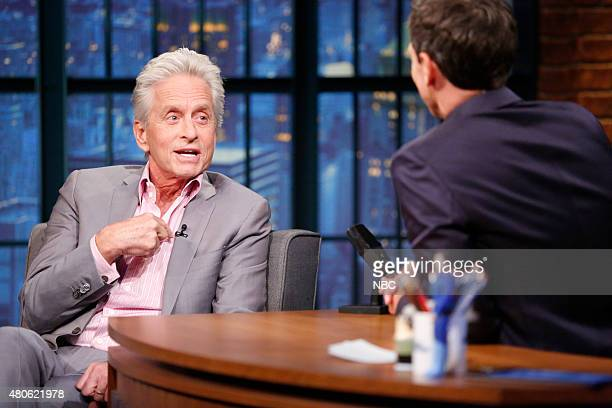 Actor Michael Douglas during an interview with host Seth Meyers on July 13 2015