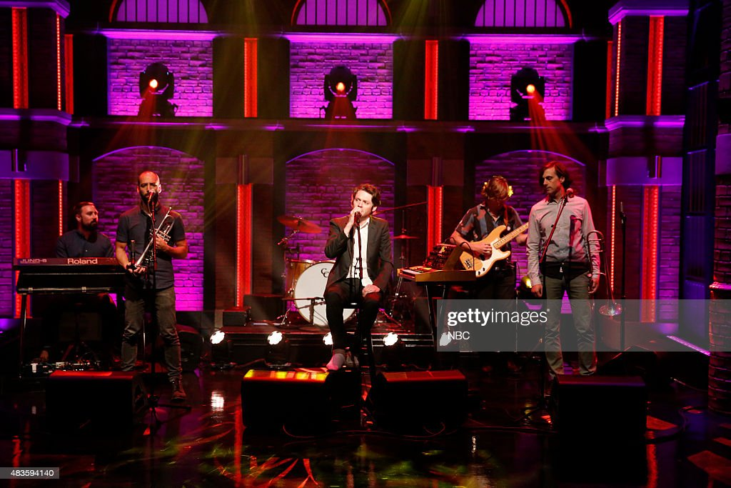 Aaron Arntz Kyle Resnick Zach Condon Paul Collins Ben Lanz of musical guets Beirut perform on August 10 2015