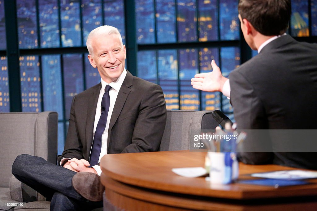 Journalist Anderson Cooper during an interview with host Seth Meyers on August 11 2015