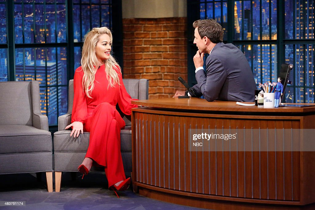 Singer Rita Ora during an interview with host Seth Meyers on August 12 2015