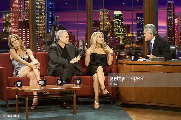 Television personalities Steve Edwards Jillian Barberie and Dorothy Lucey during an interview with host Jay Leno on June 2 2003