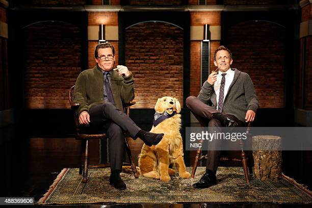 Actor Josh Brolin and host Seth Meyers during the 'Back in My Day' skit on September 15 2015