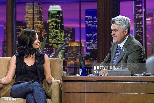 LENO Episode 2579 Aired 10/16/03 Pictured Actress Courteney Cox with host Jay Leno during an interview on October 16 2003 Photo by NBCU Photo Bank