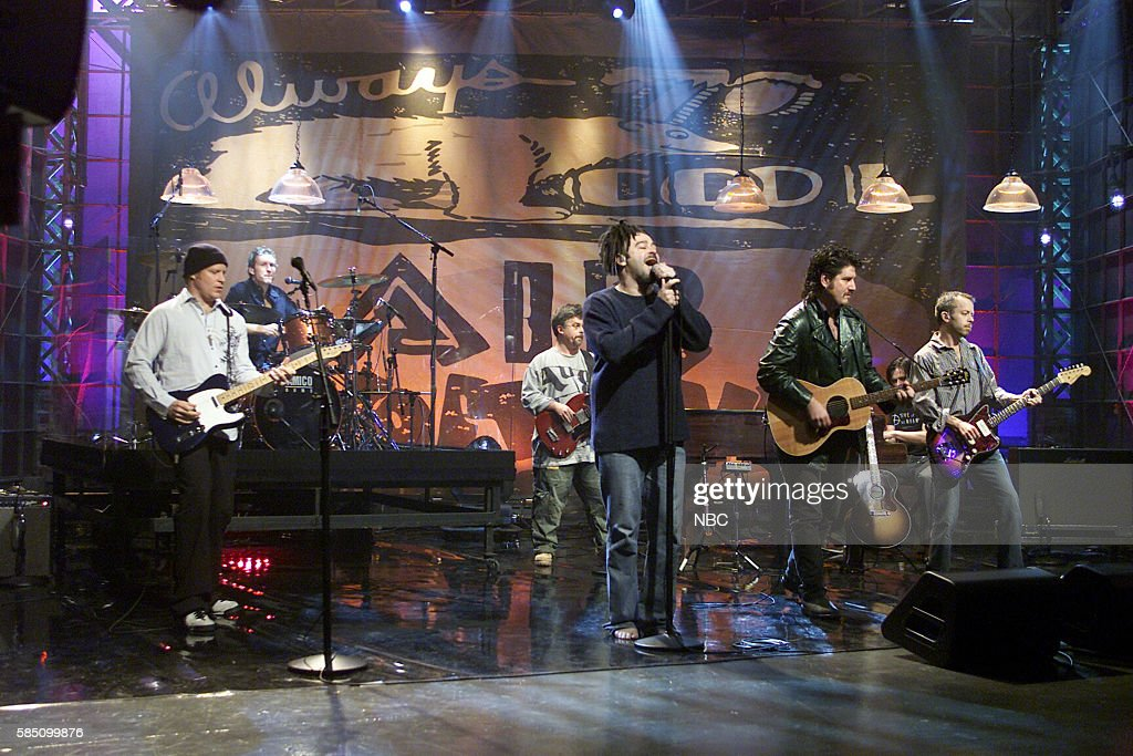 Musicians Dan Vickrey, Jim Bogios, Matt Malley, Adam Duritz, David Immergluck, Charlie Gillingham, and David Bryson of rock band Counting Crows perform --