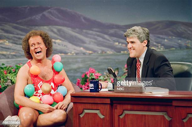 Fitness personality Richard Simmons during an interview with host Jay Leno on July 12 1993