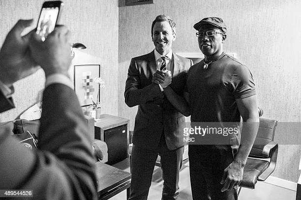 Host Seth Meyers poses for a photo with actor Wesley Snipes backstage on September 21 2015